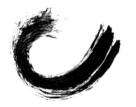 swirl: Grunge distressed paintbrush strokes swirl element illustration
