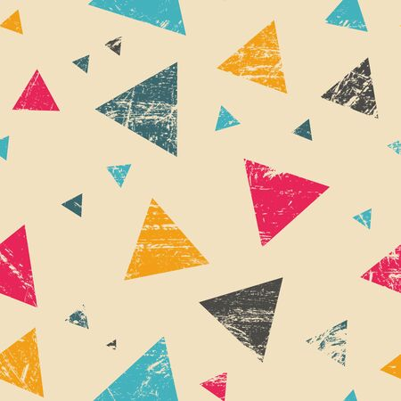 repeatable: Grunge orange, blue and red triangle texture - seamless repeatable
