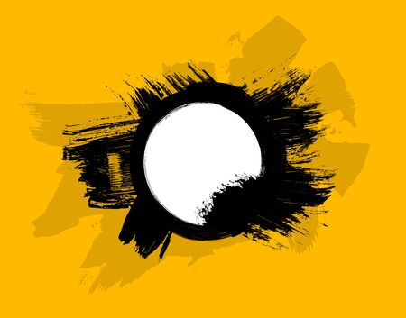 distressed background: Grunge distressed black paintbrush circle on white background