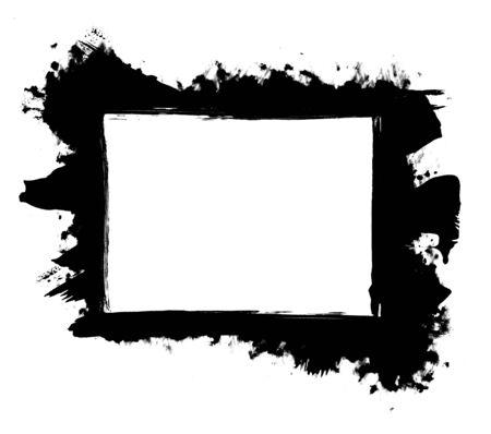 grunge frame: Grunge distressed paintbrush strokes background rectangle frame element illustration