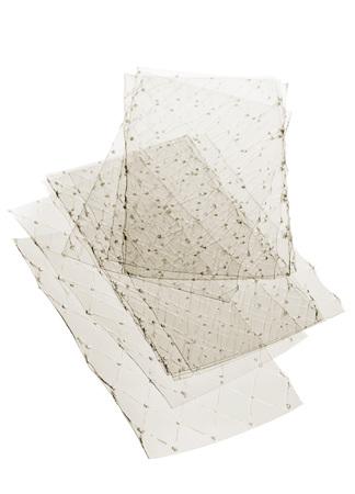 gelatine: Stacked leaves of gelatine on white background