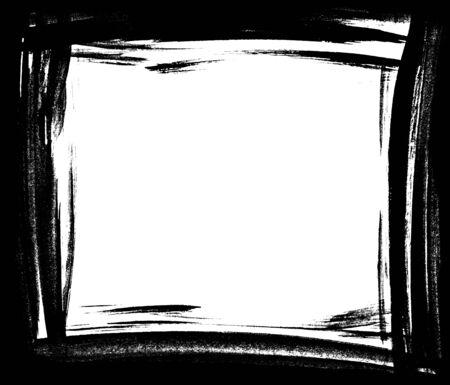 rectangle frame: Grunge distressed paintbrush strokes background rectangle frame element illustration