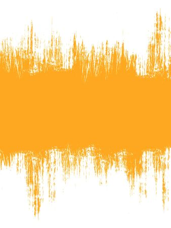 watercolor smear: Grunge distressed white paintbrush banner strokes on orange background Stock Photo