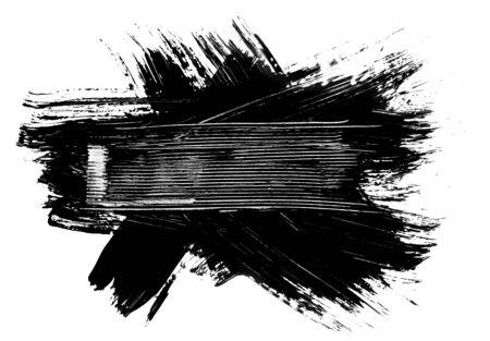 brocha de pintura: Grunge pincel trazos en dificultades bandera elemento ilustración marco
