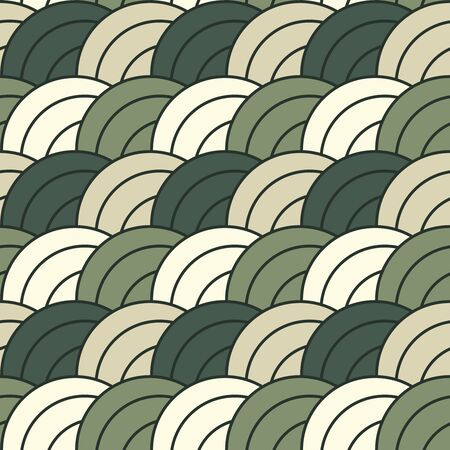 overlapping: Concentric brown and green overlapping circles pattern - seamless repeatable