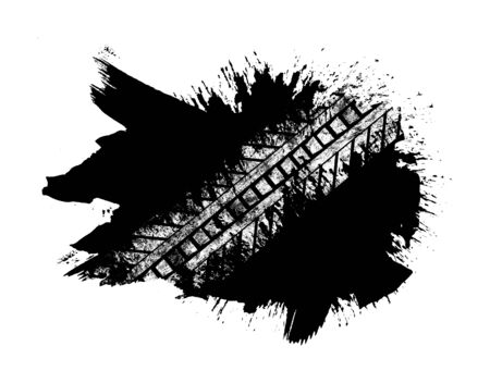 Grunge distressed paintbrush strokes background with tire track overlay illustration