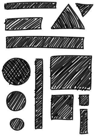 marker: Colección de diferentes marcador dibujado elementos sombreados aislados sobre fondo blanco Foto de archivo