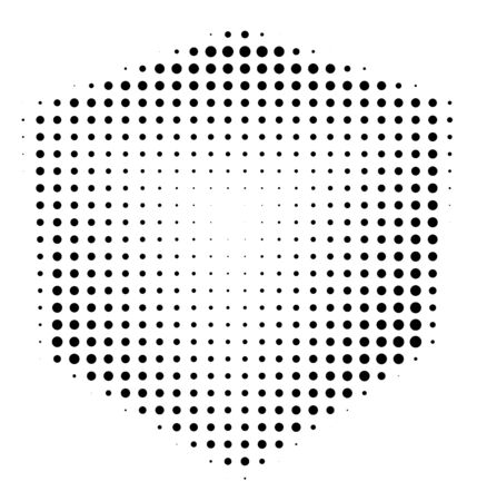 threedimensional: Halftone abstract black dotted three-dimensional cube Stock Photo