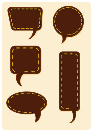 stitching: Collection of different speech bubble balloons with thread stitching and shadow