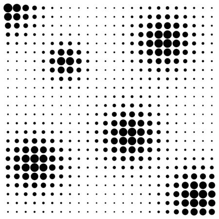 abstract black: Abstract black dots halftone splots on white background