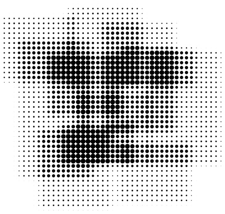 retro pattern: Abstract retro halftone dots box shaped background isolated on white