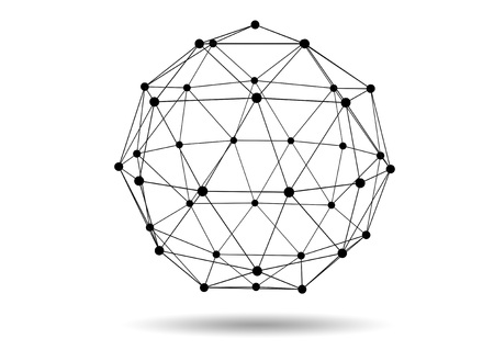 network concept: Abstract three dimensional network concept wireframe sphere with shadow on white background