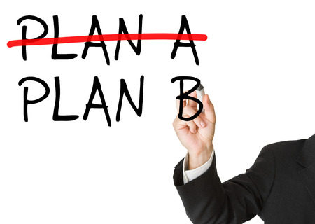 adaptable: Man writing plan b on whiteboard after crossing out plan a - decision or alternative concept Stock Photo