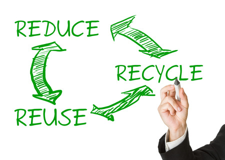 reduce reutiliza recicla: Man drawing reduce - reuse - recycle cycle on transparent display - eco or waste prevention concept