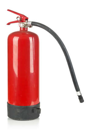 Red fire extinguisher over white background