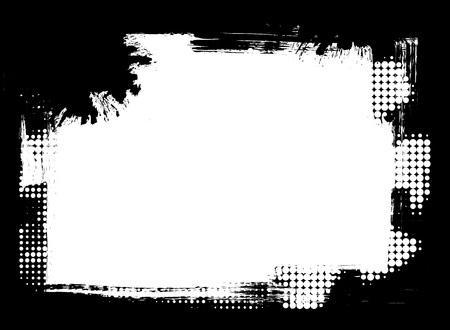 grunge frame: Dirty distressed paint brush and halftone abstract grunge frame