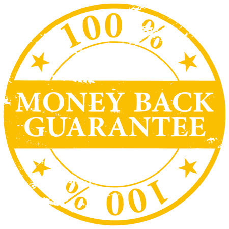 Gold colored 100% Money Back Guarantee grunge rubber stamp vector icon isolated on white background Çizim