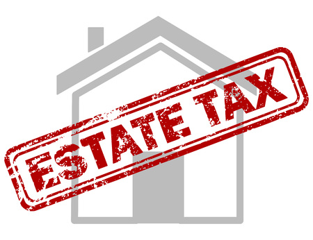 house building: Red estate tax rubber stamp on grey house or building icon over white background