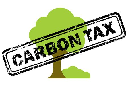 climatic: Carbon tax rubber stamp over tree icon isolated on white background