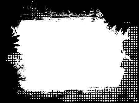 brush stroke: Dirty distressed paint brush and halftone abstract grunge frame