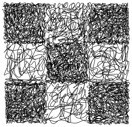 abstract scribble: Abstract hand drawn scribble doodle checkerboard chaos pattern texture isolated on white background