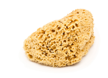 Yellow natural cleaning sponge over white background