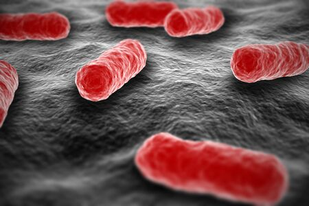 Red colored salmonella bacterium microscopic view on surface illustration Stock Photo