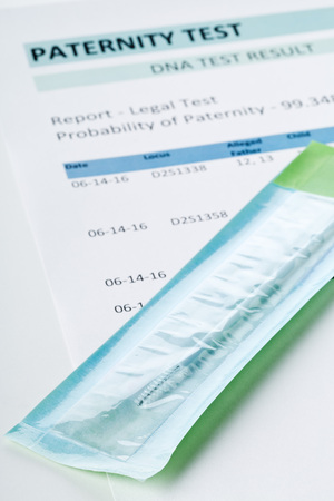 Buccal swab on paternity DNA test result chart form