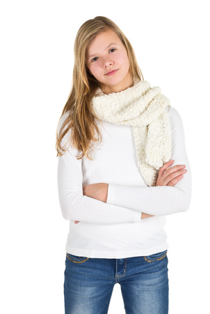 girl boots: Young girl with blue jeans, winter jacket and boots standing posing over white background