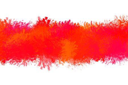 Grunge distressed red paintbrush strokes background rectangle frame with paint splash element illustration