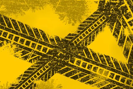 road marking: Grunge distressed black tire track road marking paintbrush stroke stripes on yellow background element illustration