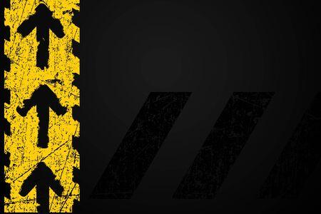amarillo y negro: Grunge en dificultades amarillas de señalización vial flechas de metal oscuro fondo elemento ilustración