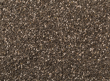 unprocessed: Raw, unprocessed, dried black chia seeds frame filling texture background Stock Photo