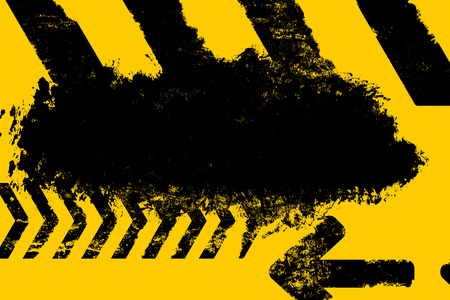 hazard stripes: Grunge distressed yellow road marking paintbrush stroke stripes on dark background element illustration