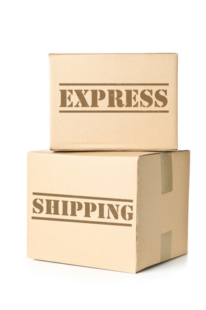 post: Two corrugated cardboard carton parcels with Express Shipping imprint Stock Photo
