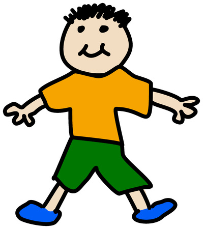 boy smiling: Simple child stickman illustration drawing of boy in t-shirt and shorts smiling isolated on white background