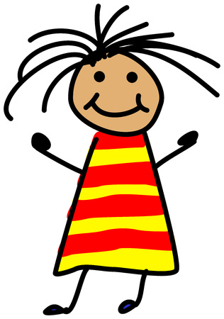 child hair: Simple child stickman illustration drawing of girl with wild hair in red and yellow dress smiling isolated on white background