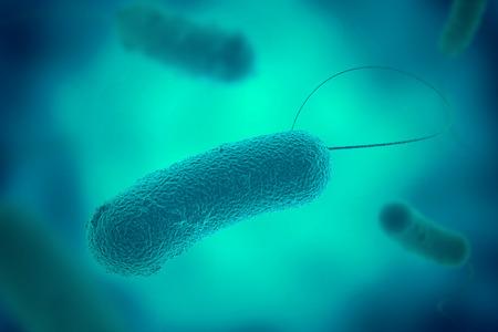 Blue legionella bacterium with flagella microscopic view in fluid 3D illustration