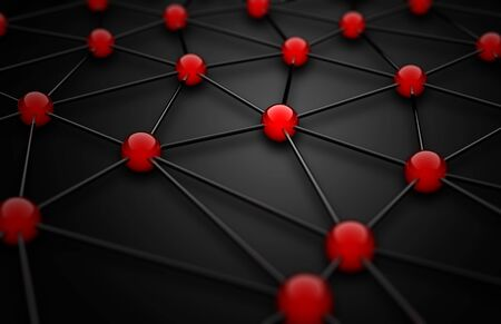 3D wireframe mesh with red connection points on black background - networking or teamwork concept Lizenzfreie Bilder