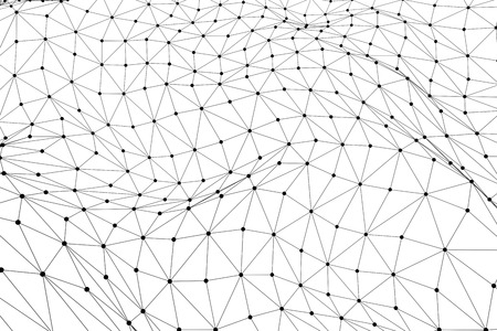 Black 3D low poly wireframe mesh isolated on white background - network or cyber internet concept