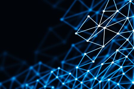 Blue glowing 3D low poly wireframe mesh on black background - network or cyber internet concept