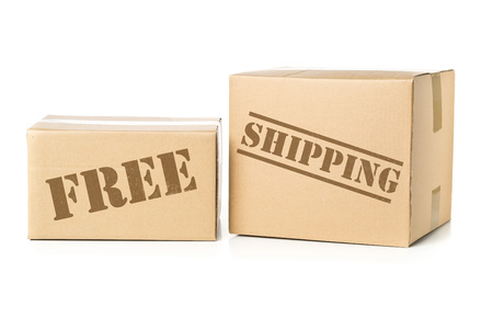 Two corrugated cardboard carton parcels with Free Shipping imprint