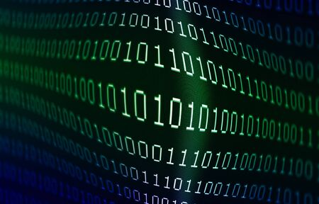 Blue and green colored zeros and ones binary data on computer display screen abstract programming or computer source code background