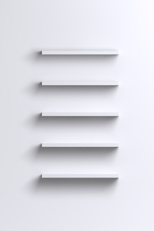 Empty white shelves on blank wall - product advertising or expo background