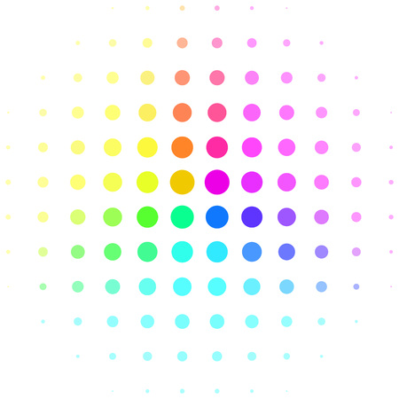 Abstract colorful rainbow halftone sphere isolated on white background