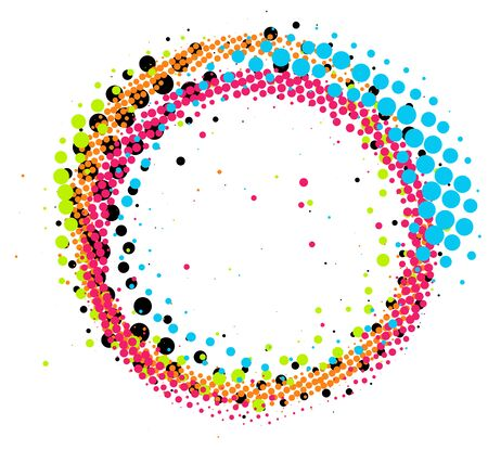 Abstract colorful pop-art halftone paintbrush swirl circle isolated on white background Lizenzfreie Bilder