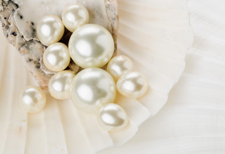 Close up of pearls in sea shell with selective depth of field Lizenzfreie Bilder