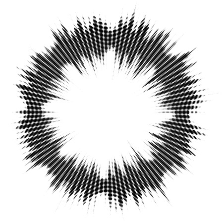 Abstract audio spectrum waveform holftone dots circle isolated on white background