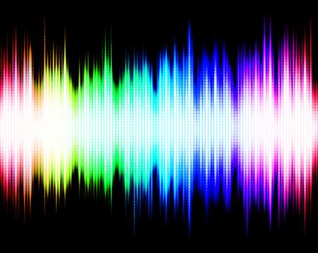 Abstract rainbow audio spectrum waveform equalizer on black background Stock fotó