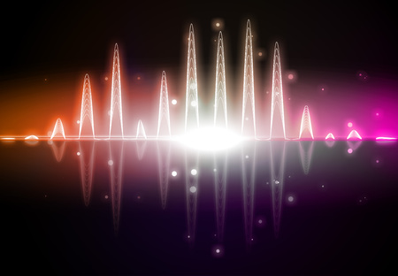 Abstract orange and pink audio spectrum waveform on black background Stock Photo